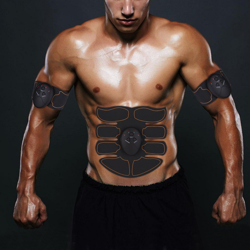 Black-Muscle-Stimulator-Training-Gear-ABS-Trainer-Six-Pads-Body-EMS-Exercise-US thumbnail 6