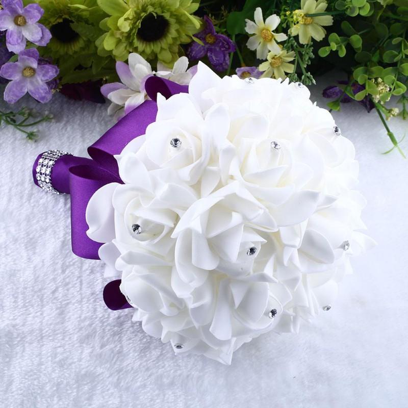 Handmade Foam Bridal Wedding Bouquet Rose Silk Flower Rhinestone For ...