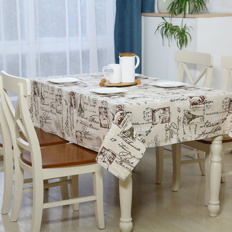 Map white plaid printed cotton linen tablecloths table for White cotton table cloth