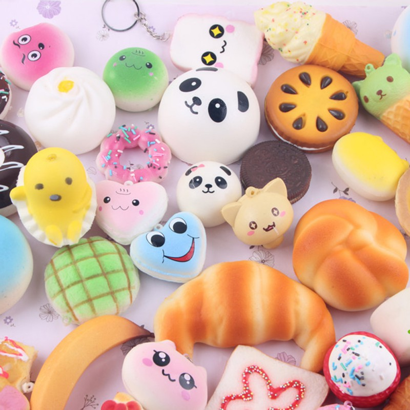 Squishy Animals For Phone : TOAST Bread Animal Food Shape Phone Drop Ornament 10Pcs Squishy Straps Toy PicClick UK