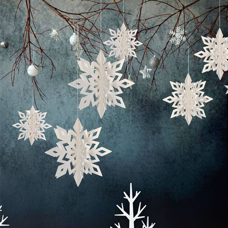 6pcs string 3d white snowflake christmas ornaments xmas