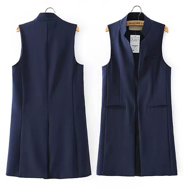 Women Sleeveless Blazer Long Jacket Casual Office Wear ...