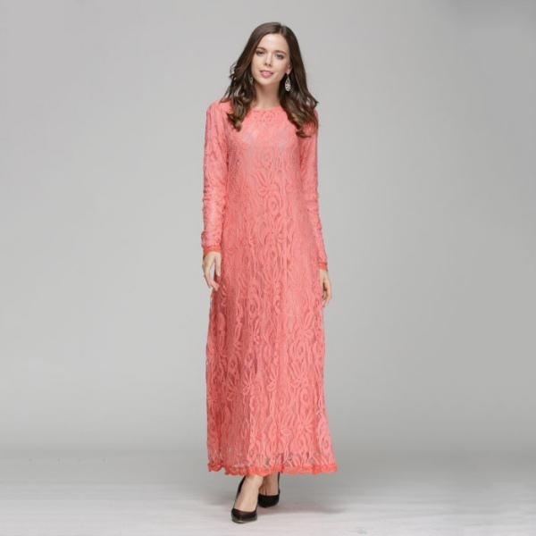 Kaftan Abaya Jilbab Islamic Muslim Lace Dress Lady Long Sleeve Party ...