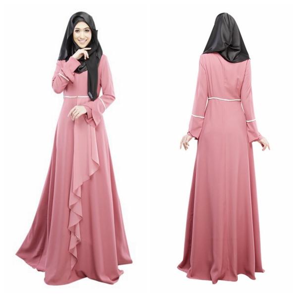 Women Long Sleeve Abaya Jilbab Kaftan Solid Long Maxi Dress Islamic ...