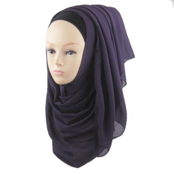 Arab Muslim Chiffon Head Cover Hijab Islamic Headwear ...