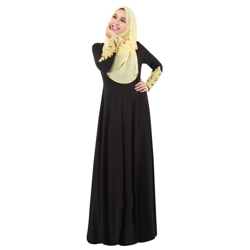 muslim islamic women casual dress lace long sleeve maxi