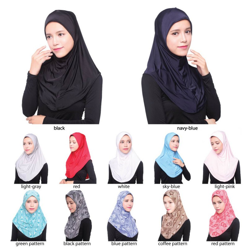 Muslim Women Soft Scarf Islamic Hijab Inner Cap Long Wrap Headwear ... ee34cb78600