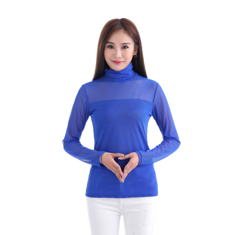 Sexy musilm women see through sheer mesh long sleeve tee t for Mesh long sleeve t shirt