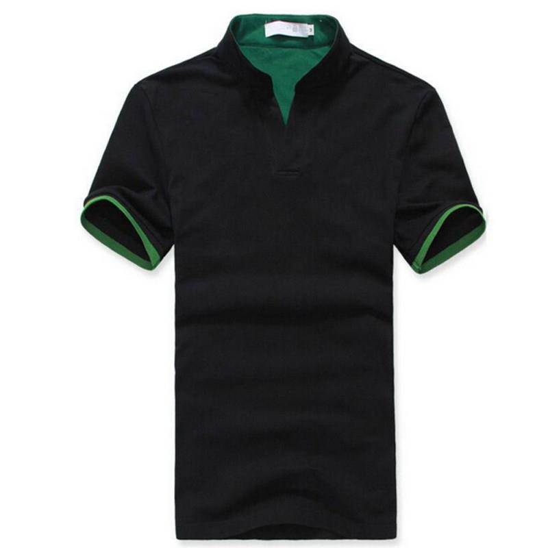 Klassischer-Herren-Stehkragen-POLOShirt-Kurzarm-T-Shirt-Einfarbig-M-XXXL