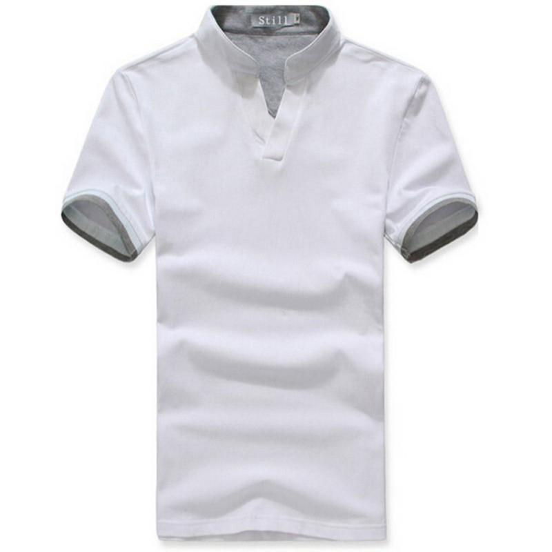 Men-039-s-Casual-Cotton-Blend-New-Summer-T-Shirts-Short-Sleeve-T-shirt-Tops-V-Neck