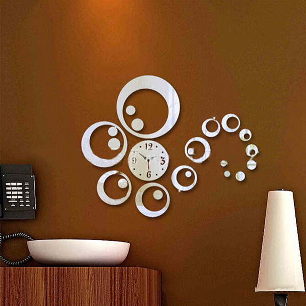 DIY Wall Clock Watches 3D Acrylic Mirror Surface Sticker Home