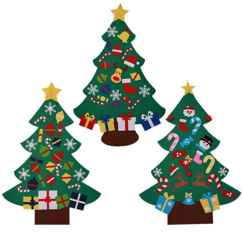 Kids DIY Felt Christmas Tree Ornaments Xmas Gift Home Door Wall ...