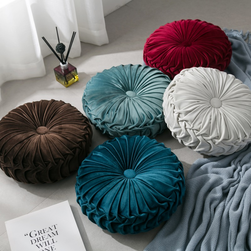 For Home Velvet Pleated Round Pumpkin Throw Pillow Couch Cus