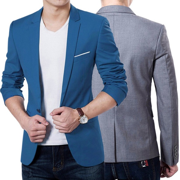 classic men slim fit formal suit one button suit business blazer coat. Black Bedroom Furniture Sets. Home Design Ideas