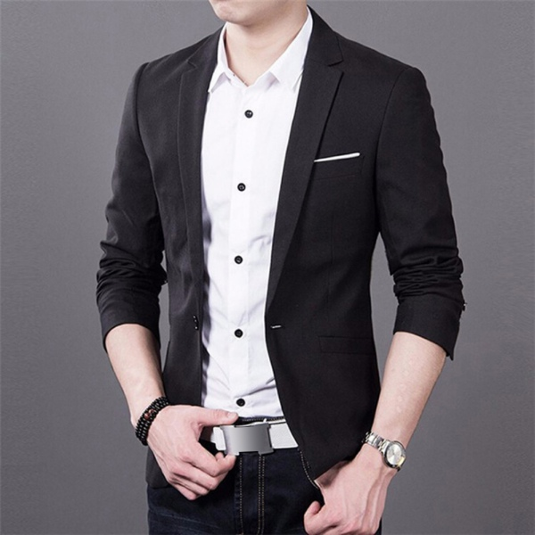 Trend men formal one button suit slim fit business blazer Uk mens designer clothing