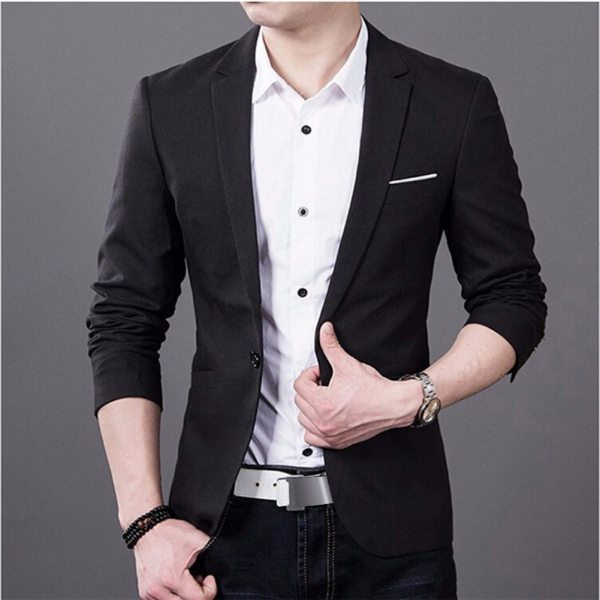 Stylish Formal Mens Men Slim Fit One Button Suit Blazer Business ...
