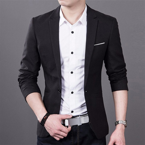 mens slim fit fashion formal casual one button suit