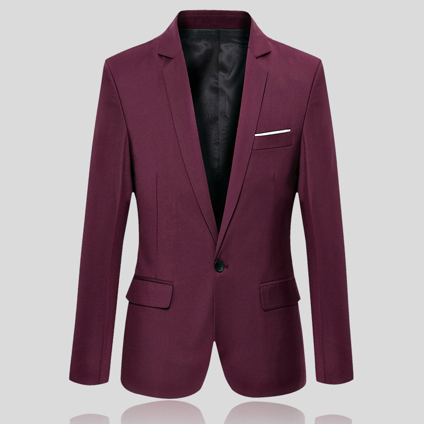 men s casual slim fit formal one button suit blazer coat jacket tops