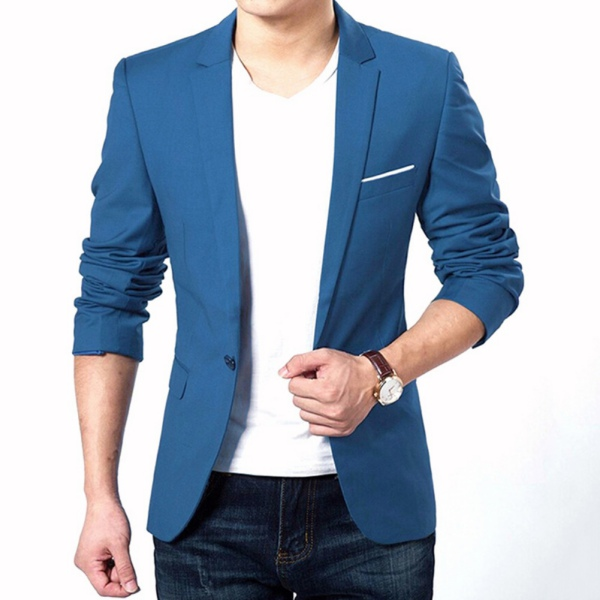 New Men\'s Slim Fit Stylish Formal Casual One Button Suit Blazers ...