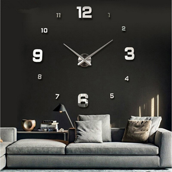 Modern Wall Clock Part - 34: 3D-Wall-Clock-Wall-Watch-Modern-Design-Hang-
