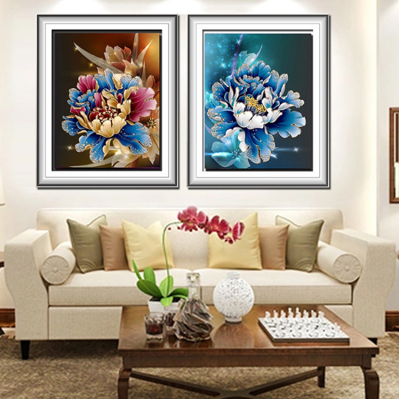 5d peacock flower diy diamond painting cross stitch home for Home decor 5d