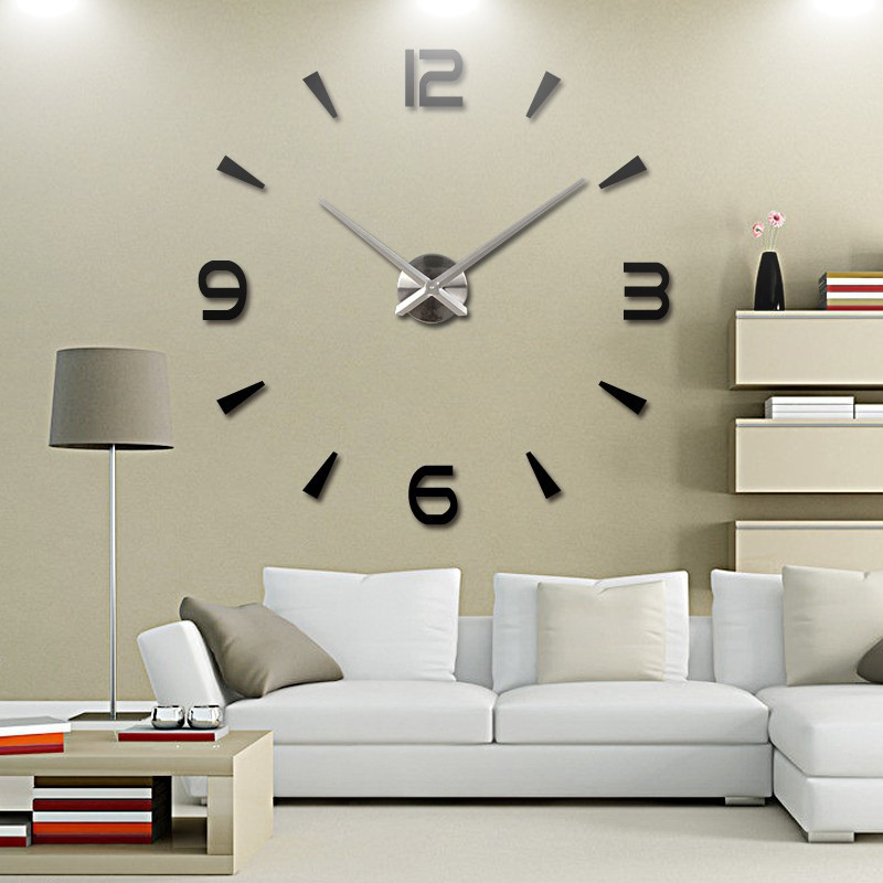Modern diy large 3d number mirror wall sticker big watch for Large 3d numbers