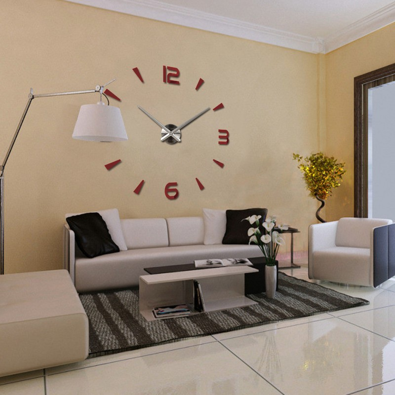 Modern diy large 3d number mirror wall sticker big watch for 3d acrylic mirror wall sticker clock decoration decor
