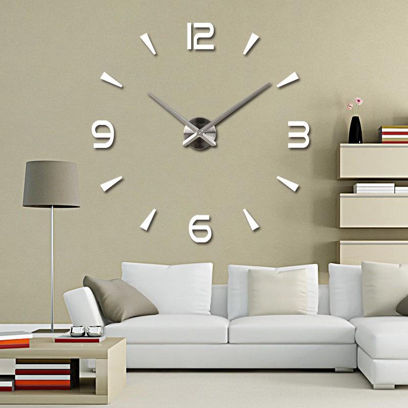 3d Diy Wall Clock Home Modern Decoration Crystal Mirror Sticker