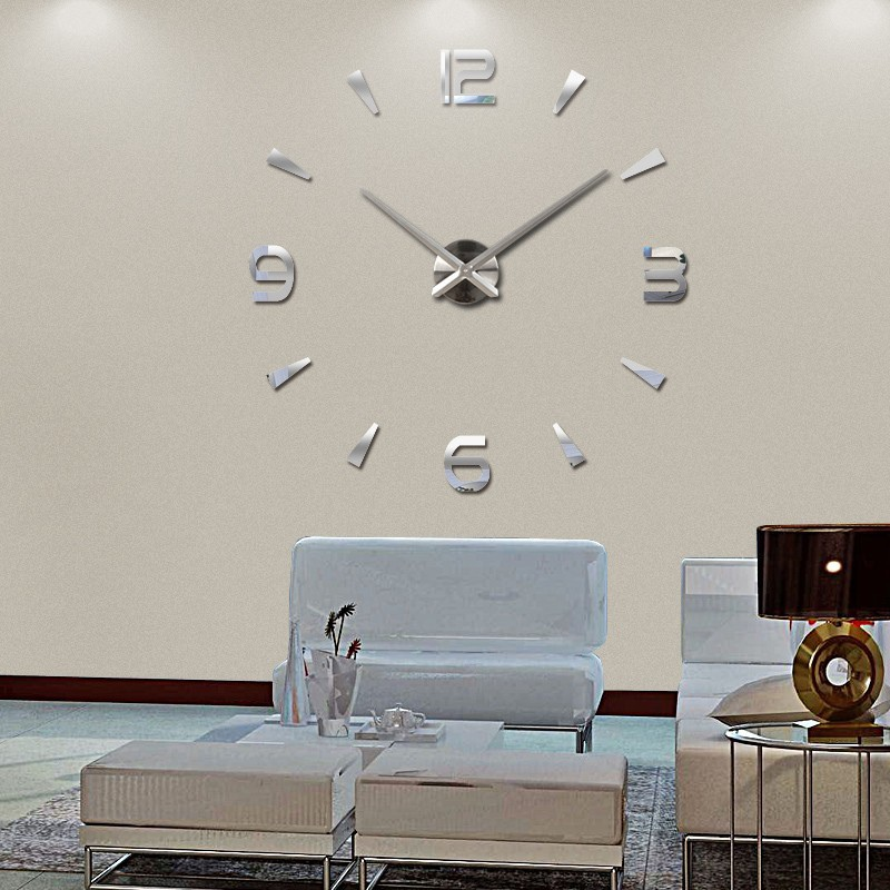 Modern diy large 3d number mirror wall sticker big watch for Contemporary home accessories and decor uk