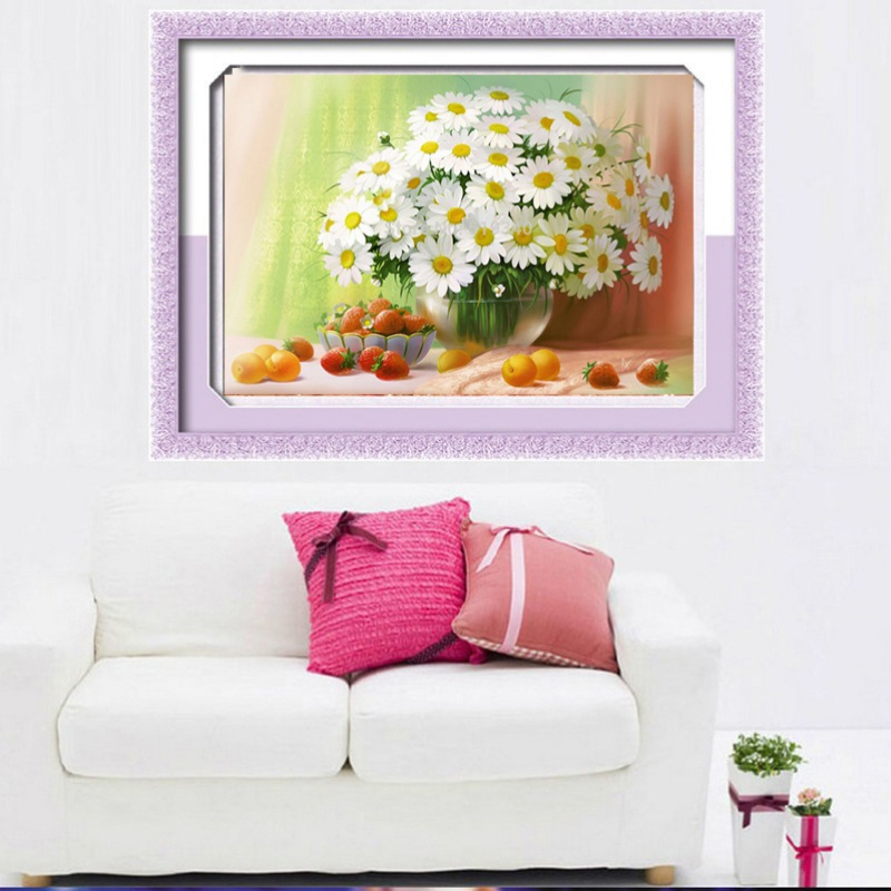 Diy 5d diamond painting flower embroidery cross crafts for Home decor 5d