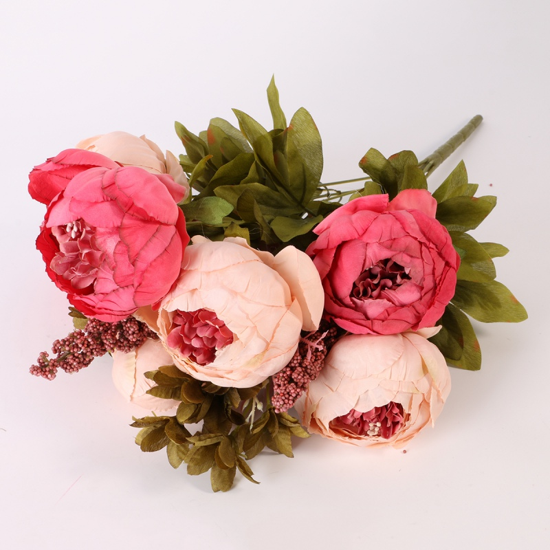 Pretty Diy Artificial Silk Fake Flowers Leaf Peony