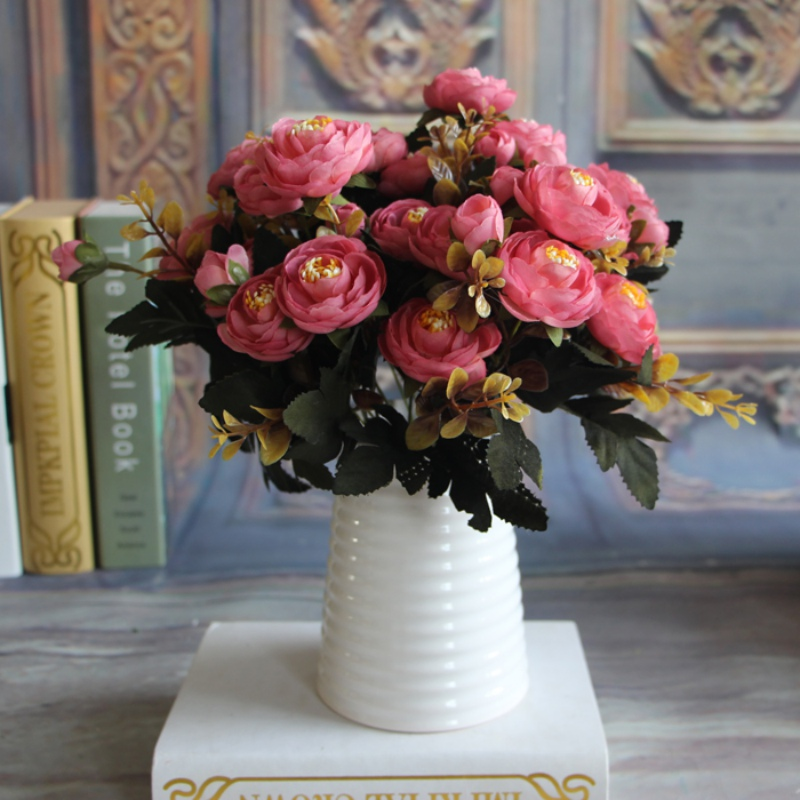 pretty diy artificial silk fake flowers leaf peony - Silk Arrangements For Home Decor 2