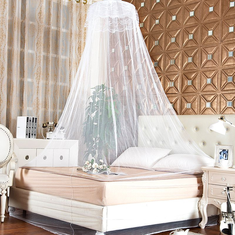 lace bed mosquito netting mesh canopy princess round dome bedding elegant ebay. Black Bedroom Furniture Sets. Home Design Ideas