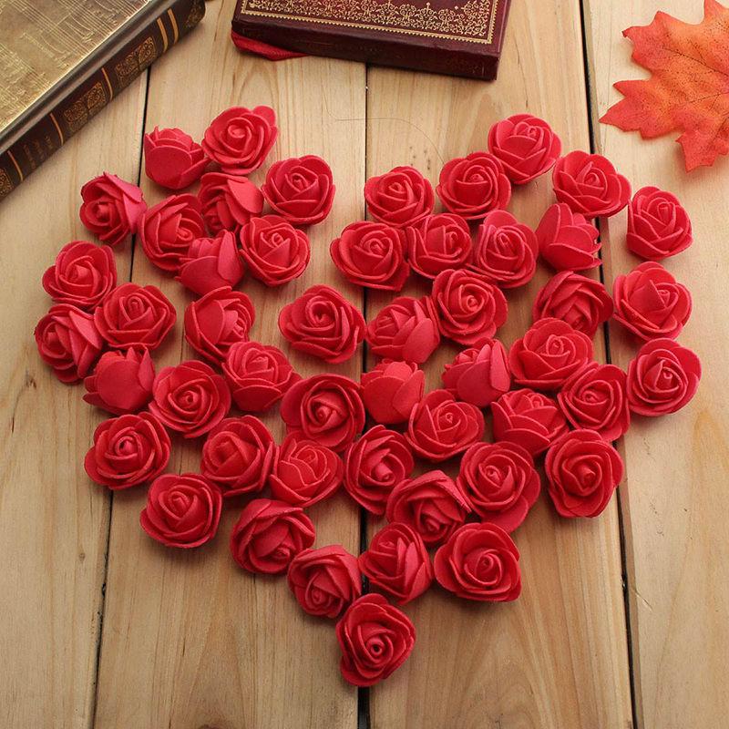 50pcs Artificial Foam Rose Flower Heads Bulk Craft Wedding Office