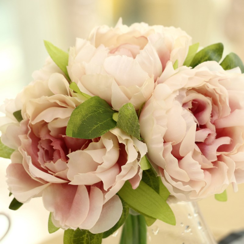 Handmade Silk Fake Flowers Peony Floral Wedding Bouquet Bridal ...