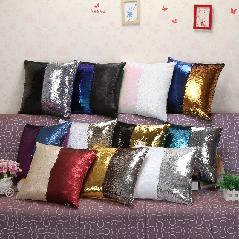 Image Is Loading Mermaid Pillow Cover Glitter Sequins Throw Cases Car