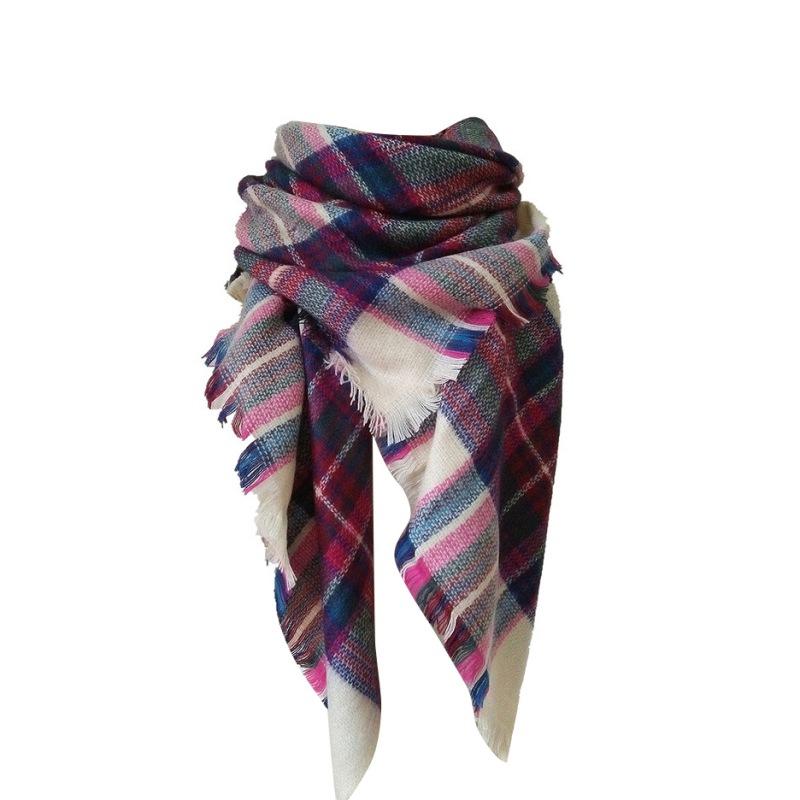 winter warm soft artificial wool scarf plaid knit