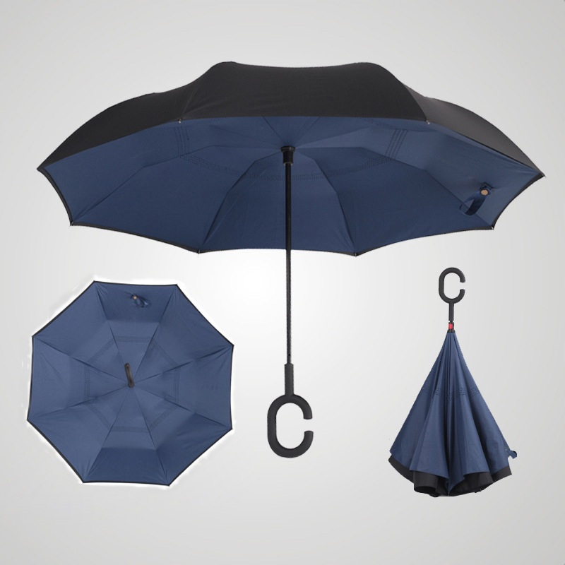 e1c0f99431b4 AU Double Layer Upside Down Inverted Umbrella C-handle Reverse ...