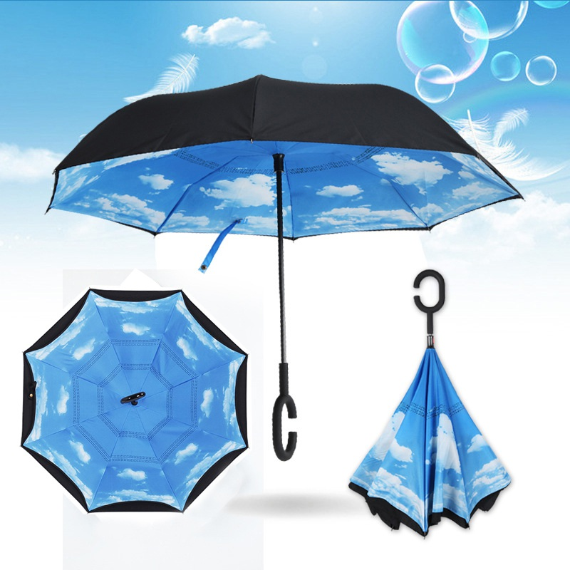 AU-Double-Layer-Upside-Down-Inverted-Umbrella-C-handle-Reverse-Design-Windproof thumbnail 16