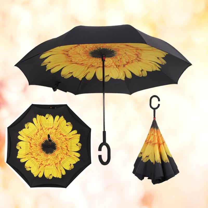 Au Double Layer Upside Down Inverted Umbrella C Handle