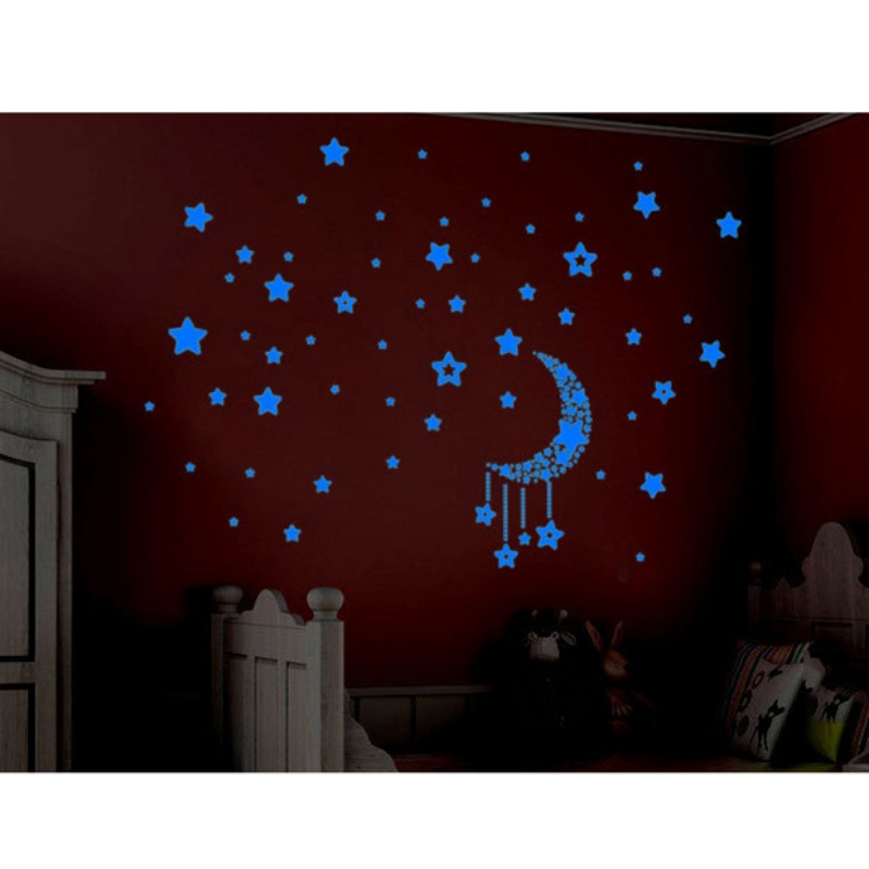 3d glow in the dark diy star moon luminous stickers kids for Luminous bedroom