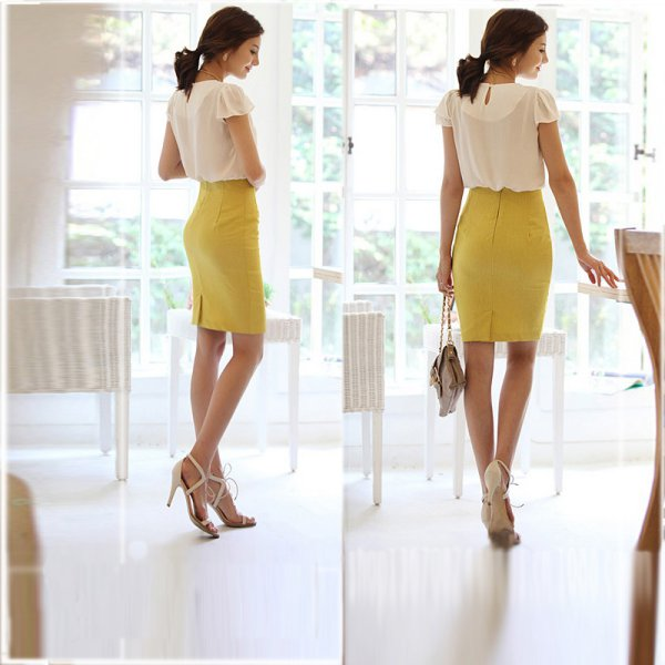 OL Lady Solid Stretch Pencil Skirt High Waist Fit Knee Length ...