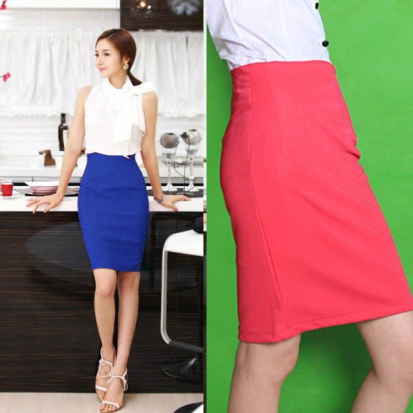OL Lady High Waist Fit Knee Length Straight Solid Stretch Business ...