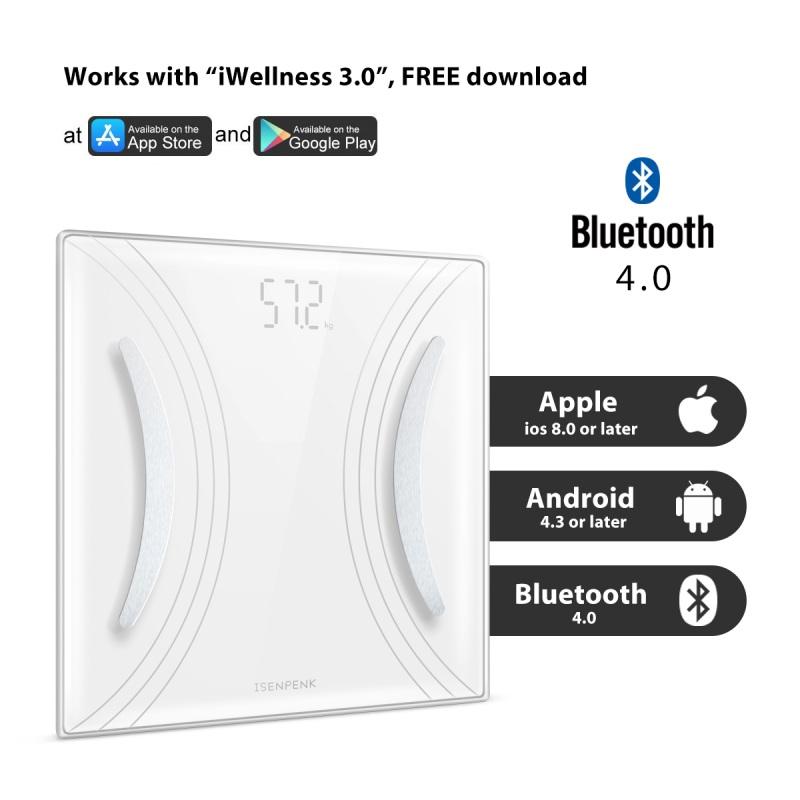 Bluetooth LCD Digital Smart Scale Body Weight Fat BMI Bone A