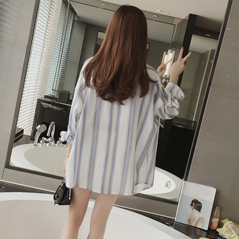 Korean-Fashion-Women-Ladies-Loose-Casual-Striped-Button-Down-Shirt-Blouse-Tops
