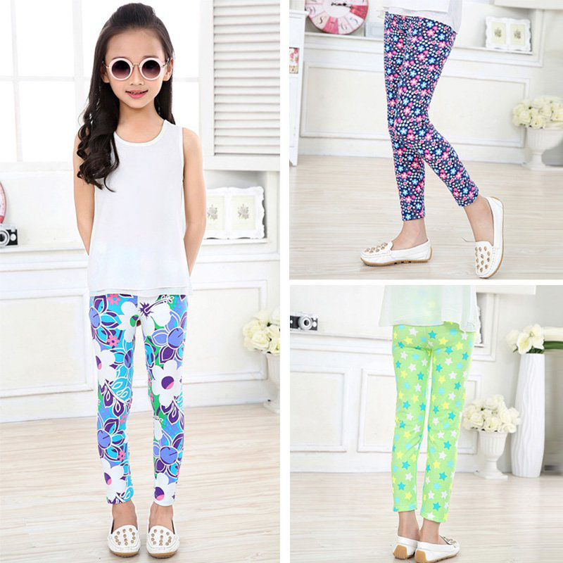 7f57545bff755 Toddler Kids Girls Leggings Tight Pants Floral Elastic Long Trousers ...