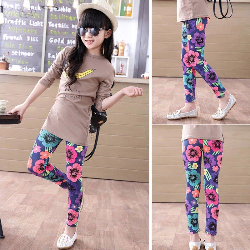 Summer Kids Baby Girl Leggings Pants Flower Floral Printed Elastic Long Trousers
