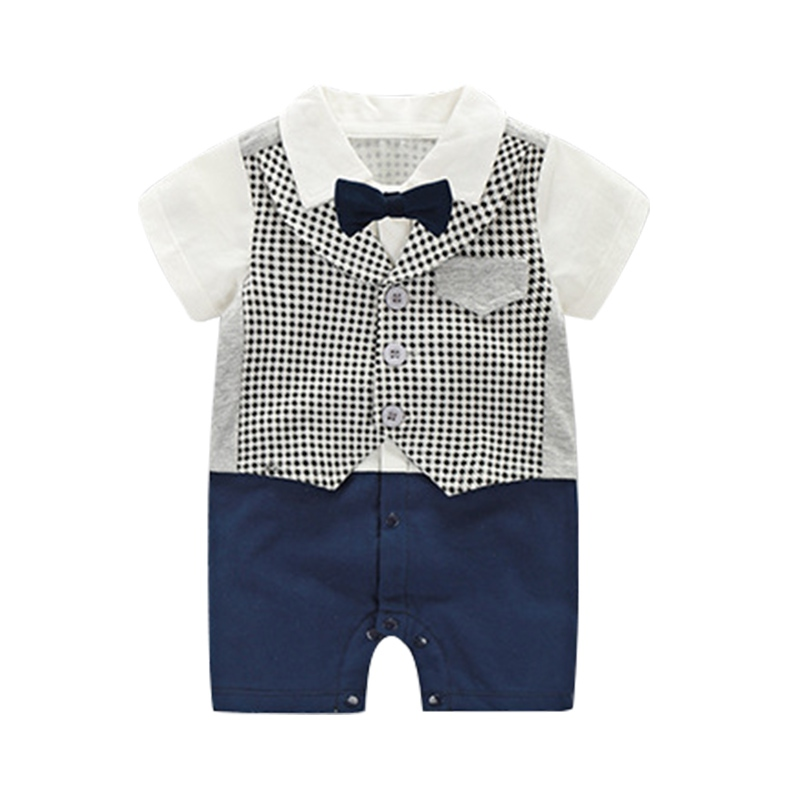 Baby Boy Romper Cotton Tie Gentleman Suit Bow Bodysuit