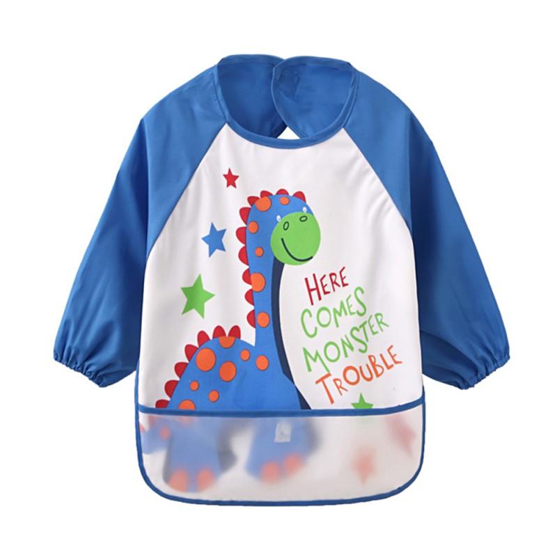Baby Kids Long Sleeve Bibs Apron Waterproof Art Smock Feeding Toddler Child US