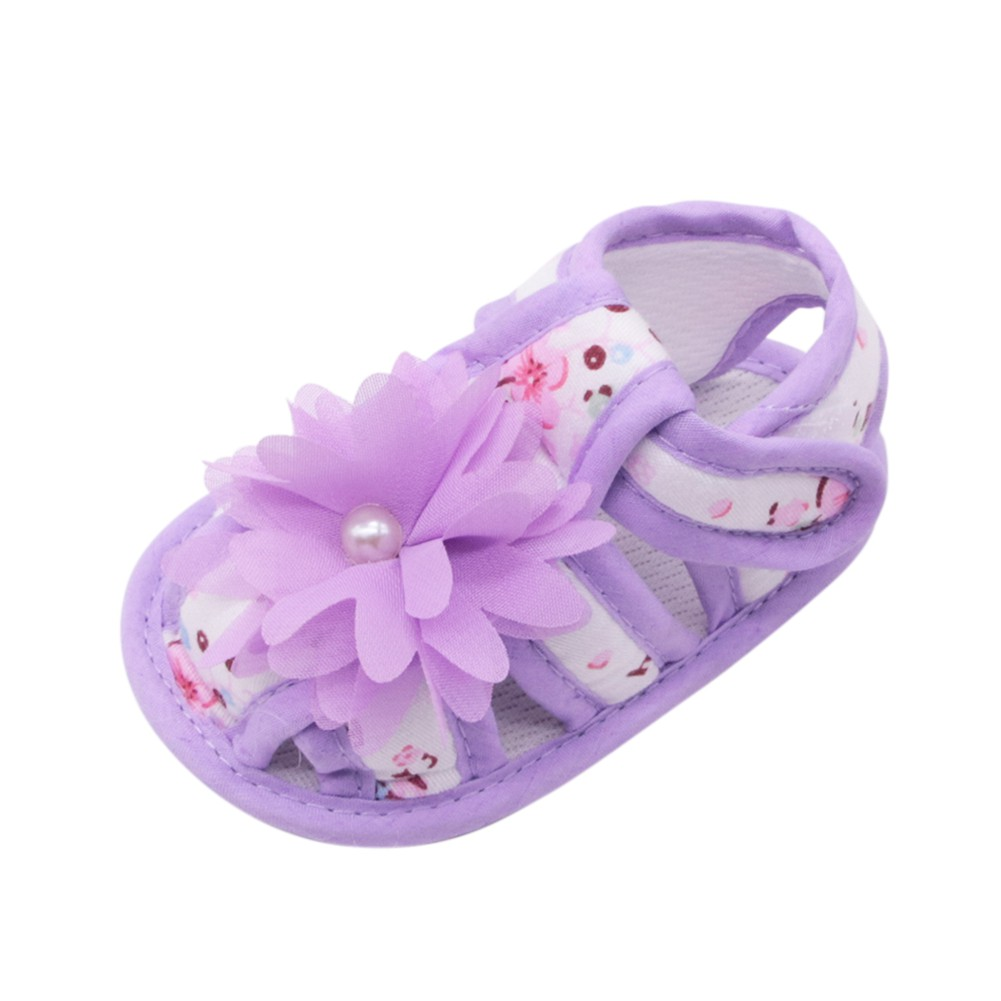 Summer Baby Sandals Anti Slip Soft Sole Bottom Lace Flower Shoes